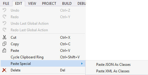 Visual Studio: Paste JSON/XML As Classes