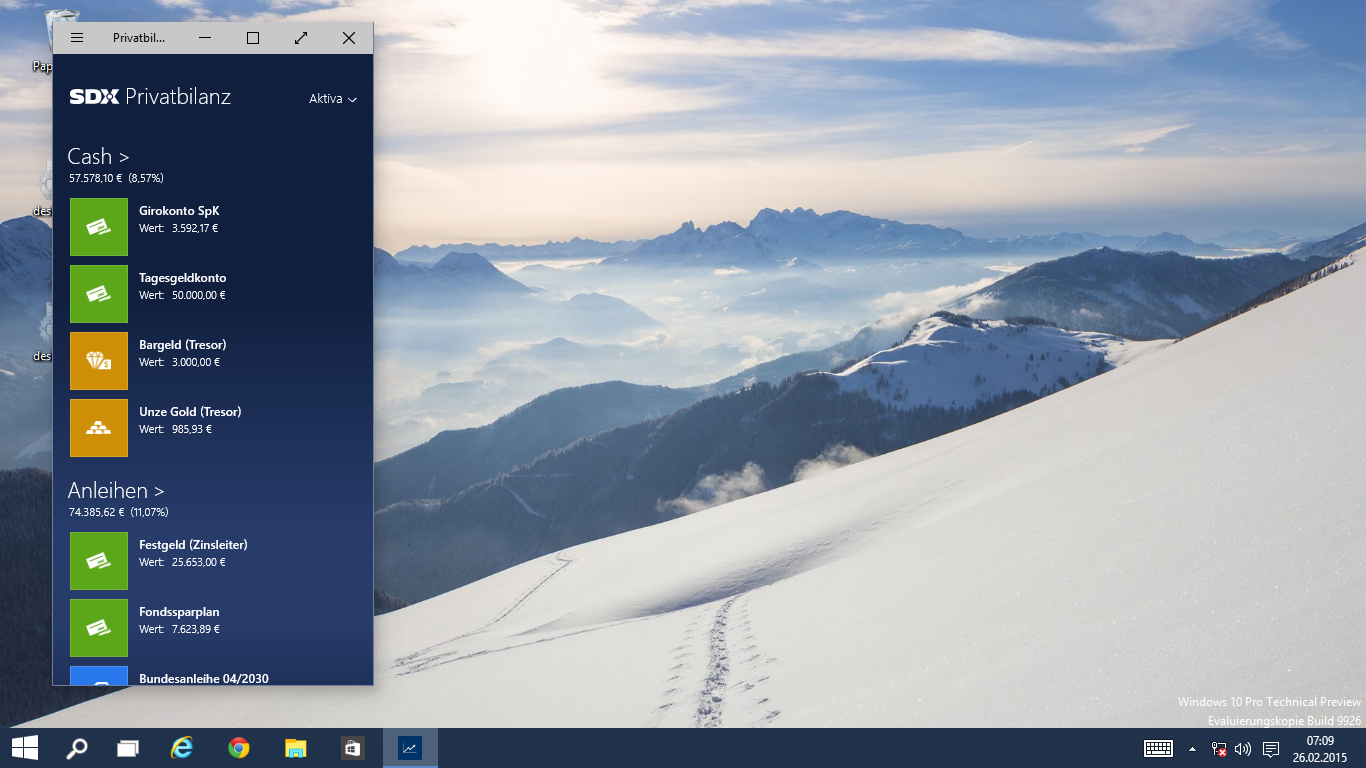 Windows 1 Apps in minimaler Größe