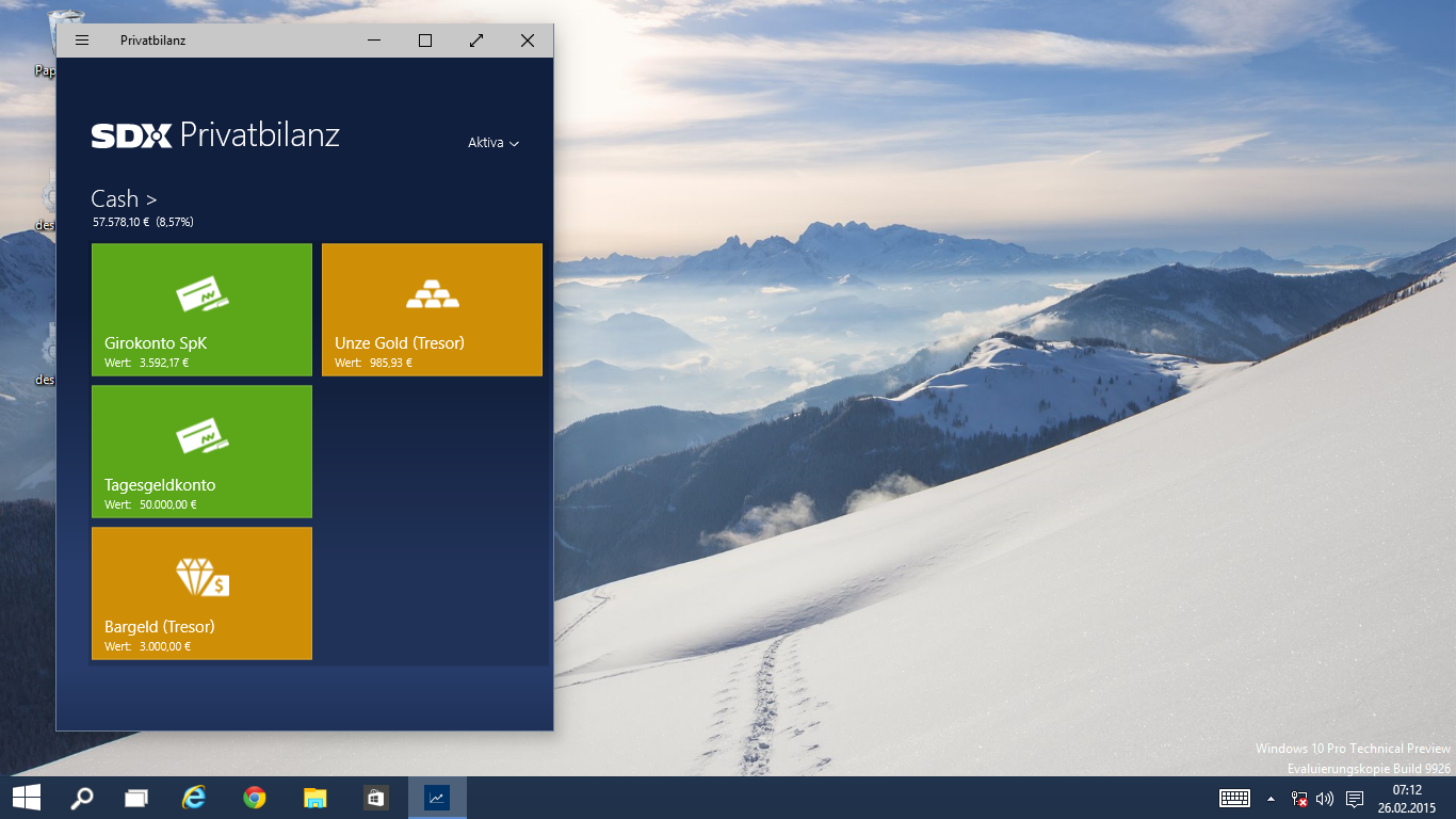 Windows 10 Apps skaliert